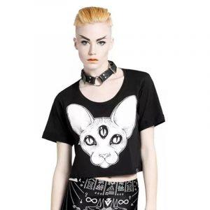 Sphynx Cat Shirt - Harajuku Sphynx Cat T Shirt Punk Hairless Cat Shirt Crop Top