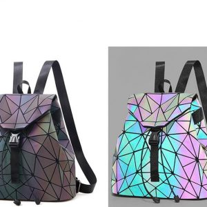 Luminous Backpack - Womens Luminous Backpack Geometric Backpack Reflective Backpack Drawstring Bag Glow In The Dark Backpack