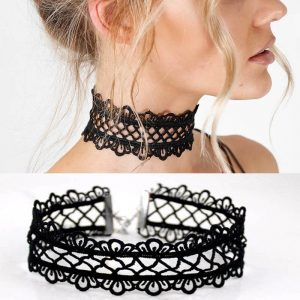 Black Lace Choker - Womens Punk Black Lace Choker Harajuku Lace Collar Goth Lace Necklace