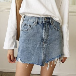 Distressed Denim Skirt - Womens Punk Distressed Denim Skirt Mini High Waisted Jeans Skirt Streetwear