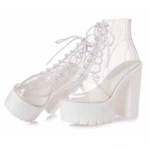 Clear Ankle Boots - Womens Harajuku Clear Ankle Boots Transparent Ankle Boots Transparent Boots Lace Up Clear Boots Thick Heel Platform Boots