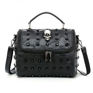 Skull Handbag - Womens Punk Skull Handbag Goth Skull Bag Genuine Leather Studded Bag