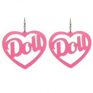 Doll Earrings - Kawaii Doll Earrings Harajuku Big Acrylic Love Heart Earrings