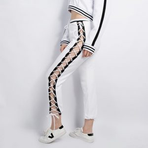 Lace Up Sweatpants - Womens Harajuku Side Lace Up Pants Pantalon Hiphop Streetwear Sweatpants