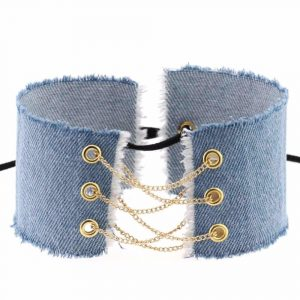Denim Choker - Womens Punk Denim Choker Festival Denim Collar Chain Lace Up Choker