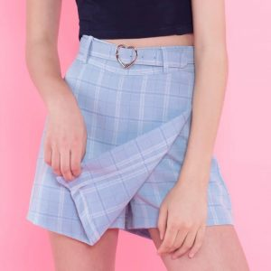 Plaid Skort - Womens Harajuku Plaid Skort Pastel Plaid Skirt A Line Skirt Plaid School Girl Skirt Korean Heart Belt Mini Skirt
