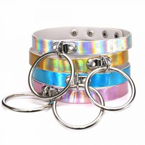 O Ring Collar - Womens O Ring Collar Holographic O Ring Choker Necklace