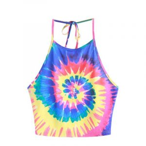 Tie Dye Halter Top - Womens Psychedelic Tank Top Tie Dye Spiral Crop Top Trippy Halter Top Festival Hippy Top