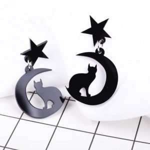 Black Cat Earrings - Celestial Black Cat Earrings Cat On Moon Star Jewellery