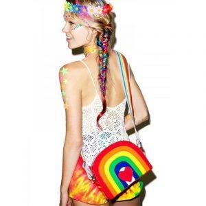 Rainbow Handbag - Harajuku Rainbow Handbag Crossbody Bag Love Heart Festival Bag