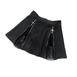Cross Skirt - Harajuku Japanese Cross Skirt Black Punk Gothic Mesh Zipper Mini Skirt