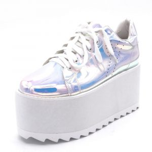 Holographic Creepers - Womens Festival Rainbow Holographic Creepers Punk Harajuku Platform Shoes Creeper Platforms