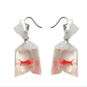 Goldfish Bag Earrings - Harajuku Kawaii Goldfish Earrings Korean Funny Cute Fish Earrings