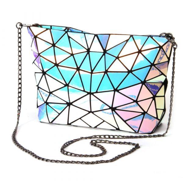 Holographic Bag - Womens Festival Holographic Bag Punk Chain Shoulder Bag Geometric Bag Holographic Clutch