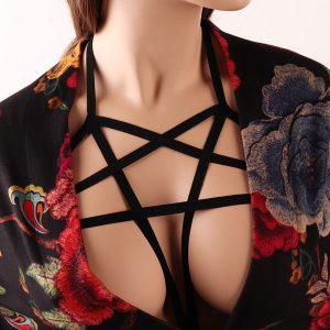 Pentagram Harness - Gothic Inverted Pentagram Harness Bondage Chest Body Harness Goth Pentagram Cage Bra