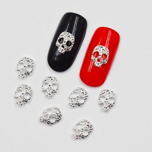Skull Nail Decals - Womens Gothic Silver Skull Nail Decals 3d Skull Nail Decorations Punk Nail Rhinestones