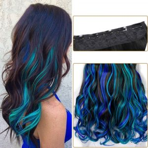 Ombre Half Wig - Wavy Half Wig Mermaid Clip In Hair Extension Ombre Half Wig Synthetic Wig