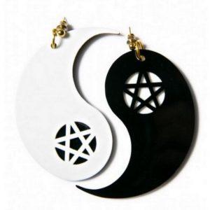 Yin Yang Earrings - Yin Yang Earrings Chinese Yin And Yang Pentagram Earrings