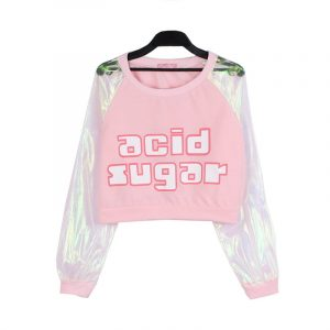 Iridescent Top - Womens Iridescent Top Harajuku Acid Sugar Long Sleeve Transparent Crop Top