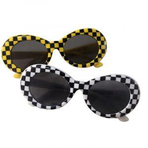 Checkered Sunglasses - Festival Checkered Sunglasses Oval Plaid Sunglasses