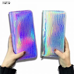 Holographic Wallet - Womens Holographic Wallet Holographic Purse Big Zipper Purse