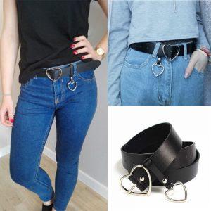Heart Belt - Womens Love Heart Belt Harajuku Pu Leather Belt Metal Heart Buckle Belt