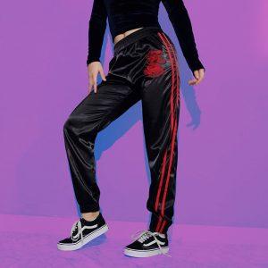 Dragon Pants - Womens Dragon Pants Streetwear Embroidered Dragon Chinese Pants Dragon Sweatpants