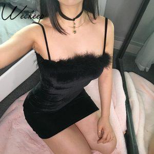 Black Velvet Bodycon Dress - Womens Gothic Black Velvet Dress Goth Faux Fur Dress Harajuku Mini Dress