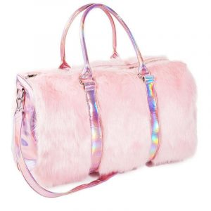 Pink Duffle Bag - Womens Pink Fur Bag Holographic Weekender Bag Travel Fluffy Faux Fur Bag