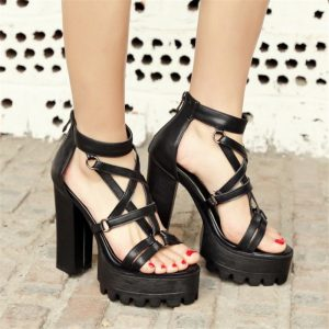 Pentagram Shoes - Womens Punk Rock Pentagram Shoes Gothic Platform Heels Witch Shoes Thick Chunky Harajuku Heels