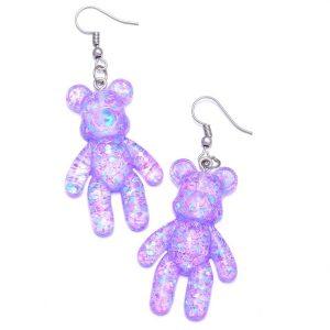 Teddy Earrings - Kawaii Teddy Bear Earrings Korean Harajuku Gummy Bear Earrings