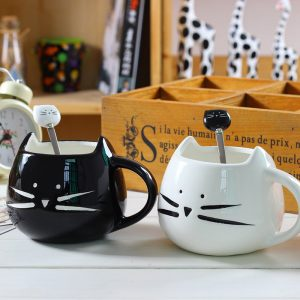 Cat Coffee Mug - Ceramic Cute Cat Mug With Cat Spoon Cat Coffee Mug Cup