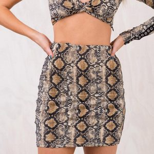 Snakeskin Skirt - Womens Snakeskin Skirt Snake Skin Skirt High Waisted Mini Skirt