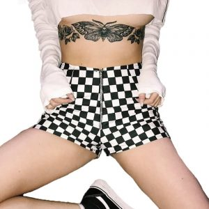 Checkered Shorts - Womens Streetwear Checkered Shorts Front Zipper Shorts Checkerboard Shorts Checkered Hot Pants