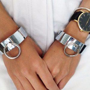 O Ring Bracelet - Womens Punk O Ring Metal Cuff Streetwear O Ring Bangle