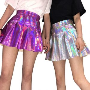 Holographic Skirt - Womens Festival Holographic Skirt Harajuku Pleated Skirt Metallic Mini Skirt
