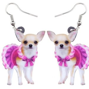 Chihuahua Earrings - Womens Chihuahua Earrings Acrylic Pink Dog Earrings