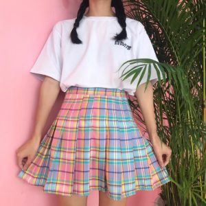 Pleated Plaid Skirt - Womens Rainbow Pleated Plaid Skirt School Girl Skirt Harajuku Mini Plaid Skirt