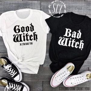 Witch Shirt - Harajuku Witch Shirt Good Witch Bad Witch Shirt Best Friend T Shirts
