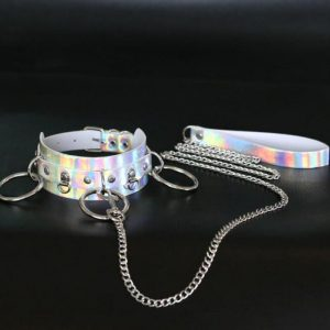 BDSM Collar And Leash - Womens Holographic Bdsm Collar And Leash Goth Bondage Choker Necklace