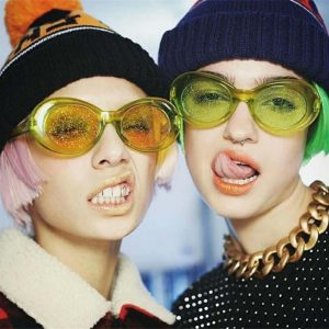 Glitter Sunglasses - Festival Glitter Sunglasses Retro Oval Sunglasses Transparent Frame Kurt Cobain Sun Glasses