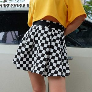 Checkerboard Skirt - Womens Pleated Checkerboard Skirt High Waisted Checkered Skirt Harajuku Mini Skirt