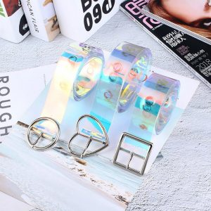 Iridescent Belt - Womens Holographic Belt Harajuku Clear Rainbow Transparent Belt