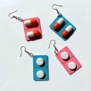 Pill Earrings - Harajuku Pill Earrings Punk Capsule Medicine Dangle Earrings