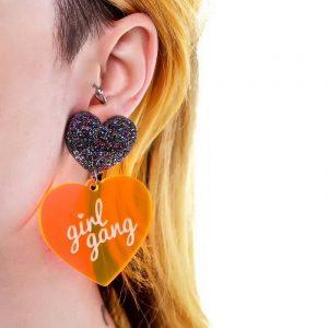Girl Gang Earrings - Harajuku Punk Girl Gang Earrings Streetwear Hipster Acrylic Glitter Heart Earrings