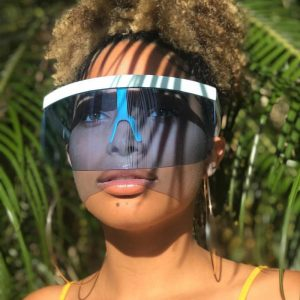Oversized Shield Sunglasses - Womens Festival Visor Sunglasses Oversized Face Shield Glasses