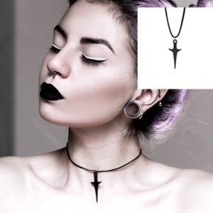 Dagger Necklace - Womens Goth Dagger Necklace Harajuku Punk Gothic Dagger Choker