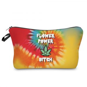 Flower Power Bitch Makeup Bag - Womens Rainbow Flower Power Bitch Makeup Bag Weed Cosmetics Bag Hippy Cosmetics Case