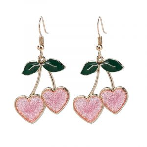 Cherry Earings - Womens Harajuku Cherry Earrings Kawaii Fruit Earrings Heart Dangle Earrings