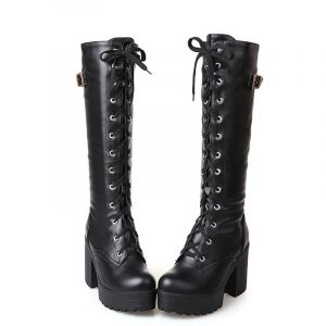 Lace Up Platform Boots - Womens Punk Lace Up Platform Boots Harajuku Laced Up Boots Goth Knee High Boots